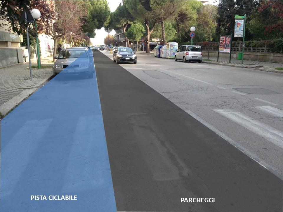 Via Muzii - Scenario pista ciclabile monodirezionale con parcheggio in opposizione