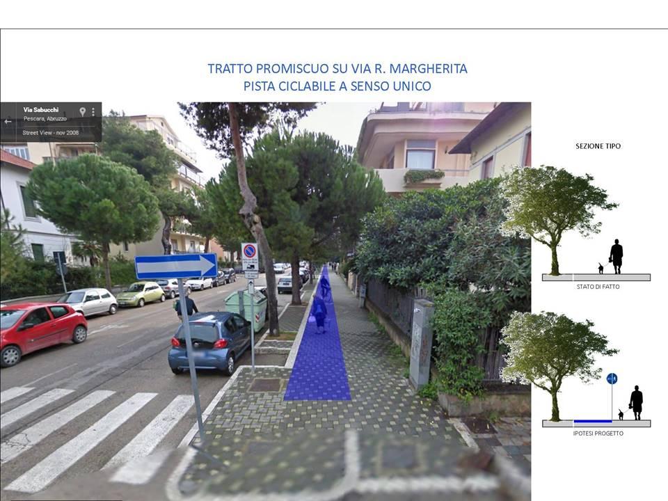 Via R. Margherita - Pista ciclabile su marciapiede